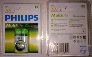 Philips Rechargeable 2XAA 1600 mah